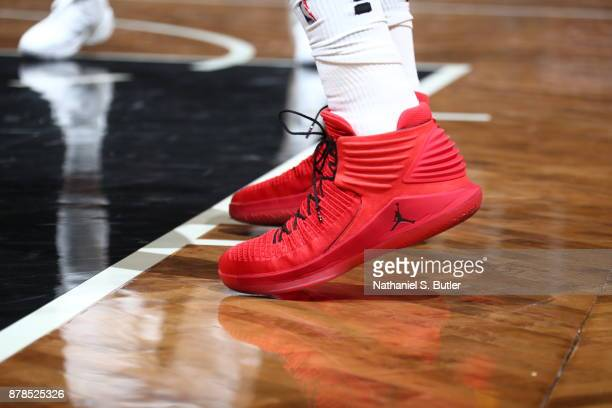 The sneakers of Noah Vonleh of the Portland Trail Blazers are seen during the game against the Brooklyn Nets on November 24 2017 at Barclays Center...