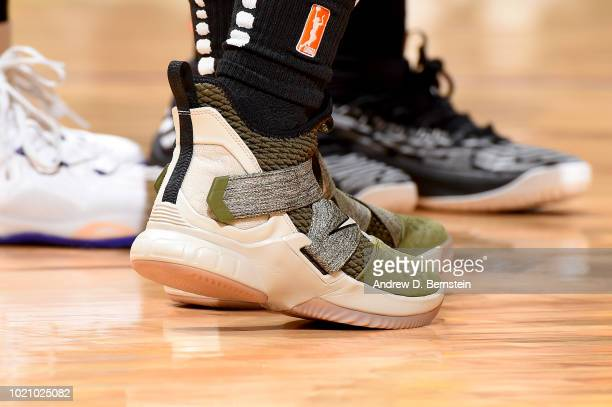 The sneakers of Odyssey Sims of the Los Angeles Sparks are seen during the game against the Minnesota Lynx in Round One of the 2018 WNBA Playoffs on...
