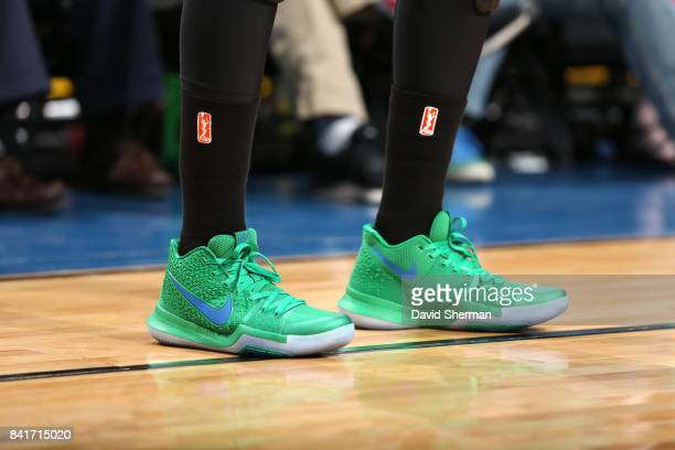 The sneakers of of Sylvia Fowles of the Minnesota Lynx are seen during the game against the Chicago Sky on September 1 2017 at Xcel Energy Center in...