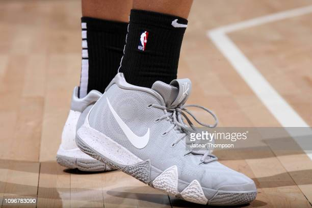 The sneakers of Omari Spellman of the Atlanta Hawks during the game against the Charlotte Hornets on February 9 2019 at State Farm Arena in Atlanta...