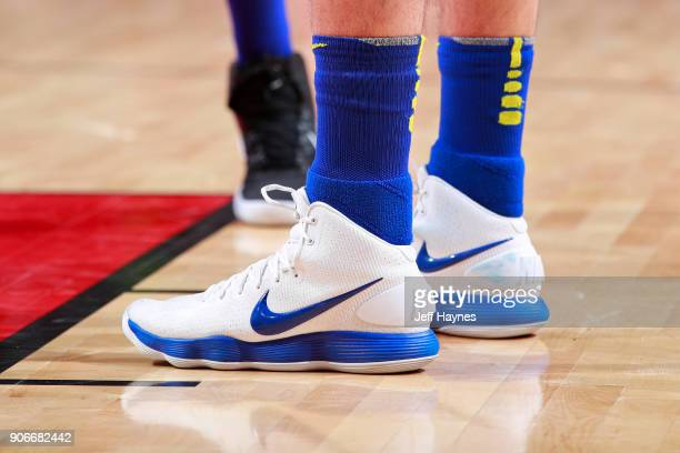 The sneakers of Omri Casspi of the Golden State Warriors during the game against the Chicago Bulls on January 17 2018 at the United Center in Chicago...