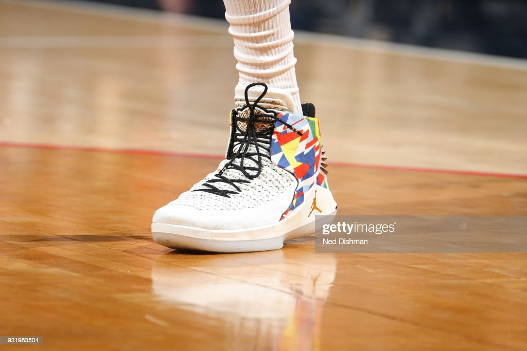 The sneakers of Otto Porter Jr. #22 of the Washington Wizards during the game against the Minnesota Timberwolves on March 13, 2018 at Capital One Arena in Washington, DC.