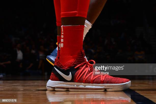 The sneakers of Pascal Siakam of the Toronto Raptors are seen during the game against the Denver Nuggets on November 1 2017 at the Pepsi Center in...