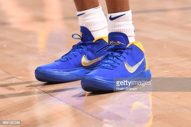 The sneakers of Patrick McCaw of the Golden State Warriors are seen before the game against the Utah Jazz on December 27 2017 at ORACLE Arena in...