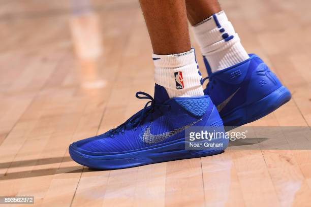 The sneakers of Patrick McCaw of the Golden State Warriors before the game against the Dallas Mavericks on December 14 2017 at ORACLE Arena in...