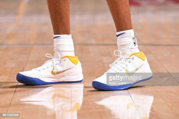 The sneakers of Patrick McCaw of the Golden State Warriors during the game against the Sacramento Kings on November 27 2017 at ORACLE Arena in...
