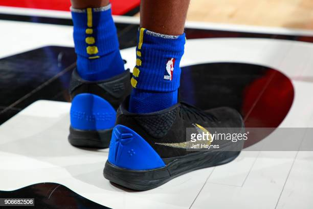 The sneakers of Patrick McCaw of the Golden State Warriors during the game against the Chicago Bulls on January 17 2018 at the United Center in...