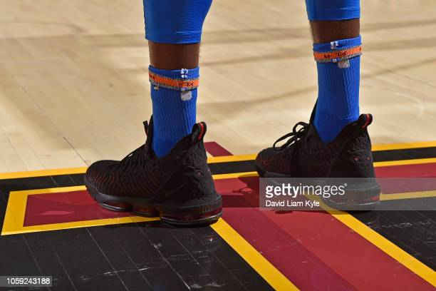 The sneakers of Patrick Patterson of the Oklahoma City Thunder during the game against the Cleveland Cavaliers on November 7 2018 at Quicken Loans...