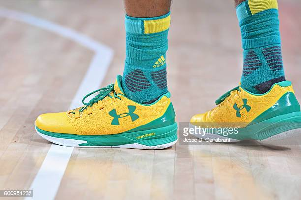 The sneakers of Patty Mills of Australia during the game against Spain during the Bronze Medal Game on Day 16 of the Rio 2016 Olympic Games on August...
