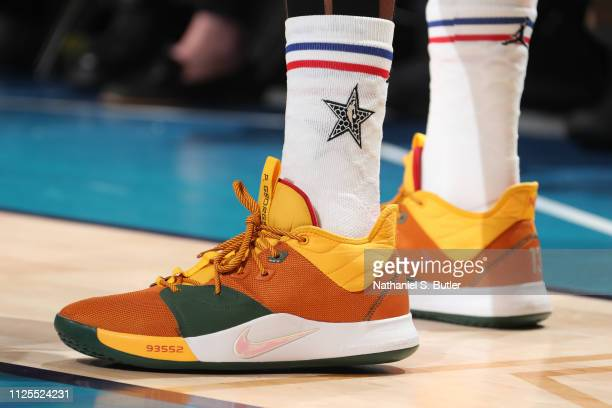 The sneakers of Paul George of Team Giannis are worn during the 2019 NBA AllStar Game on February 17 2019 at the Spectrum Center in Charlotte North...