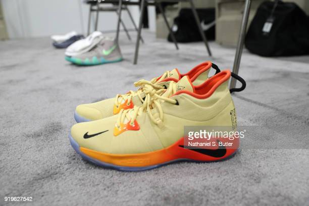 The sneakers of Paul George of Team Lebron during the NBA AllStar practice as part of the 2018 NBA AllStar Weekend on February 17 2018 at the Verizon...