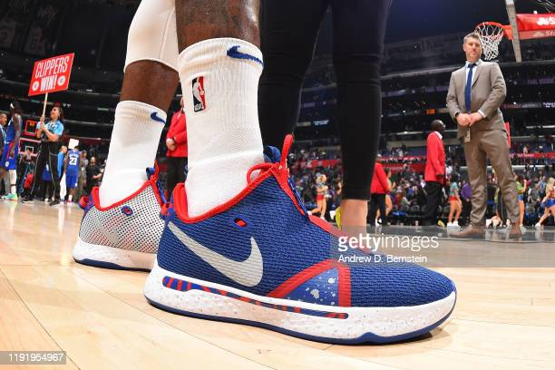 The sneakers of Paul George of the LA Clippers are worn during a game against the New York Knicks on January 5 2020 at STAPLES Center in Los Angeles...