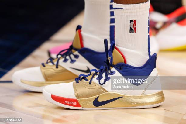 The sneakers of Paul George of the LA Clippers during the game against the Toronto Raptors on May 11, 2021 at Amalie Arena in Tampa, Florida. NOTE TO...