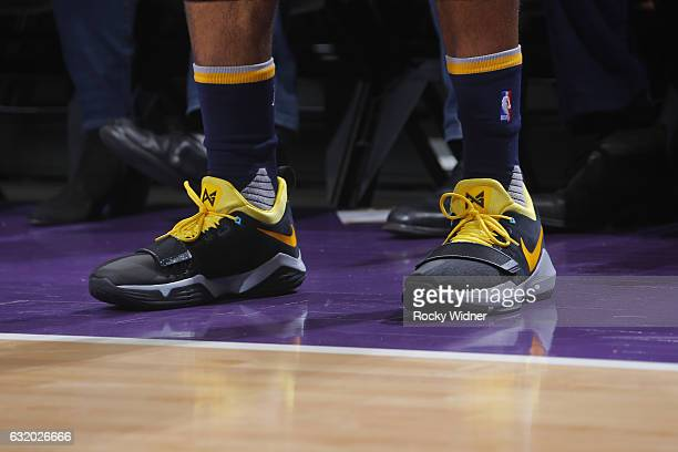 The sneakers of Paul George of the Indiana Pacers are seen during a game against the Sacramento Kings on January 18 2017 at Golden 1 Center in...