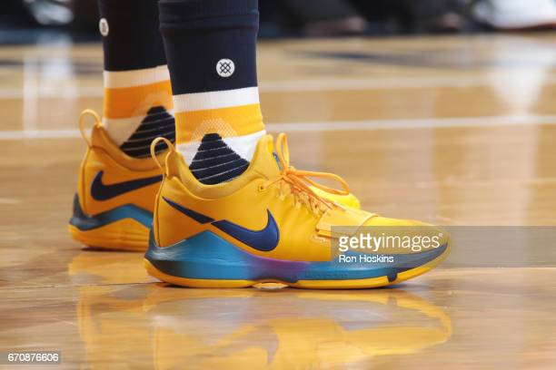 The sneakers of Paul George of the Indiana Pacers are seen during Game Three of the Eastern Conference Quarterfinals of the 2017 NBA Playoffs on...