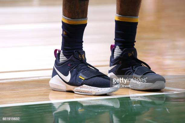 97e89c32540a The sneakers of Paul George of the Indiana Pacers during the game against  the Milwaukee Bucks