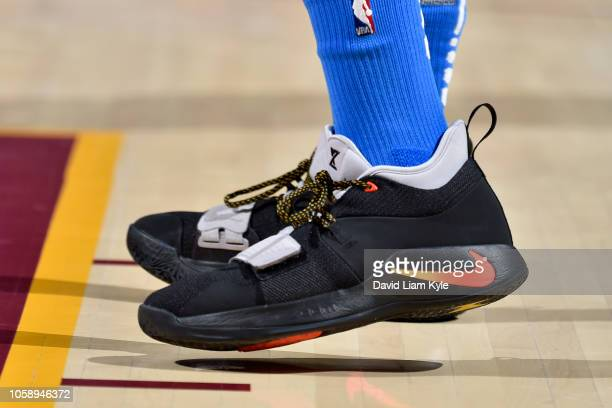 the sneakers of Paul George of the Oklahoma City Thunder are seen against the Cleveland Cavaliers on November 7 2018 at Quicken Loans Arena in...