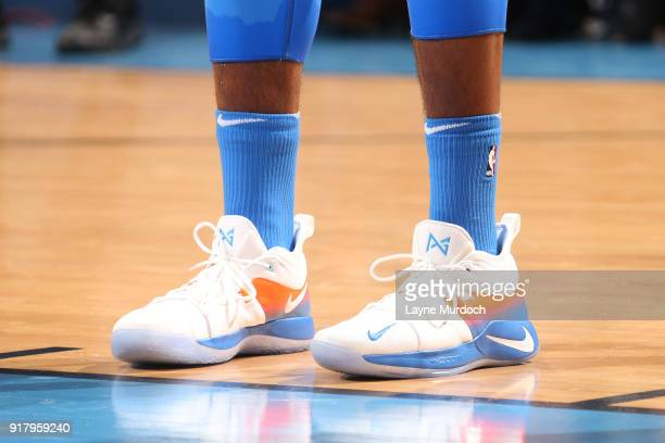 The sneakers of Paul George of the Oklahoma City Thunder are seen during the game against the Cleveland Cavaliers on February 13 2018 at Chesapeake...