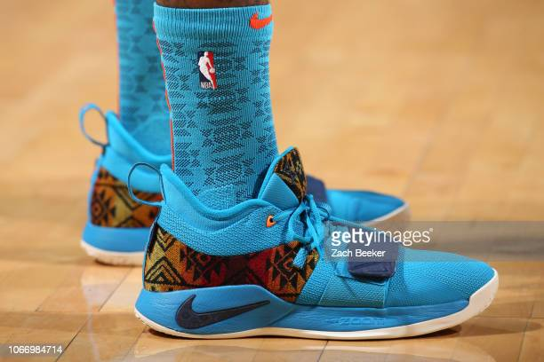 The sneakers of Paul George of the Oklahoma City Thunder are worn during a game against the Atlanta Hawks on November 30 2018 at Chesapeake Energy...