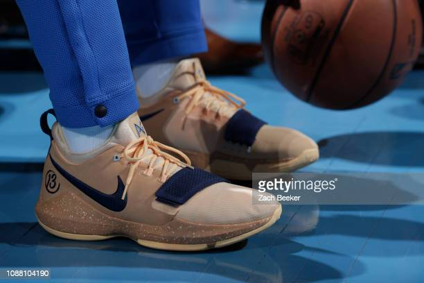The sneakers of Paul George of the Oklahoma City Thunder are worn during a game against the New Orleans Pelicans on January 24 2019 at Chesapeake...