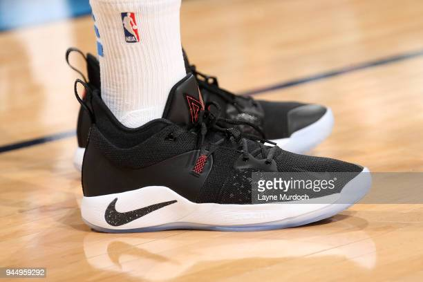 The sneakers of Paul George of the Oklahoma City Thunder as seen during the game against the Memphis Grizzlies on April 11 2018 at Chesapeake Energy...