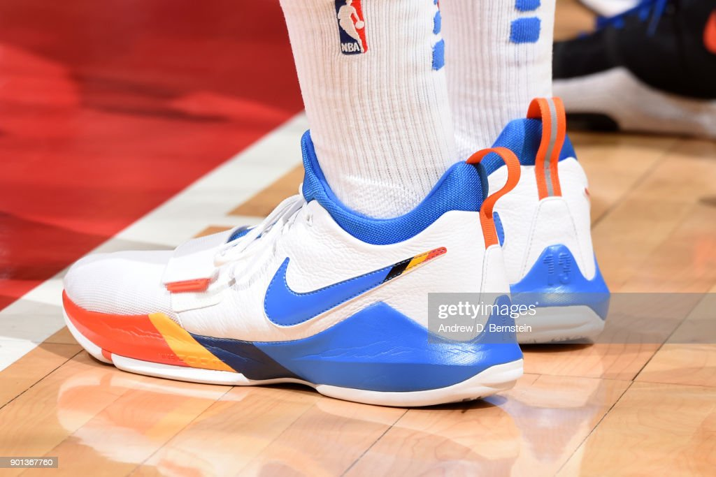 The sneakers of Paul George #13 of the Oklahoma City Thunder during the game against the LA Clippers on January 4, 2018 at STAPLES Center in Los Angeles, California.