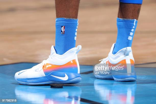 The sneakers of Paul George of the Oklahoma City Thunder during the game against the Cleveland Cavaliers on February 13 2018 at Chesapeake Energy...