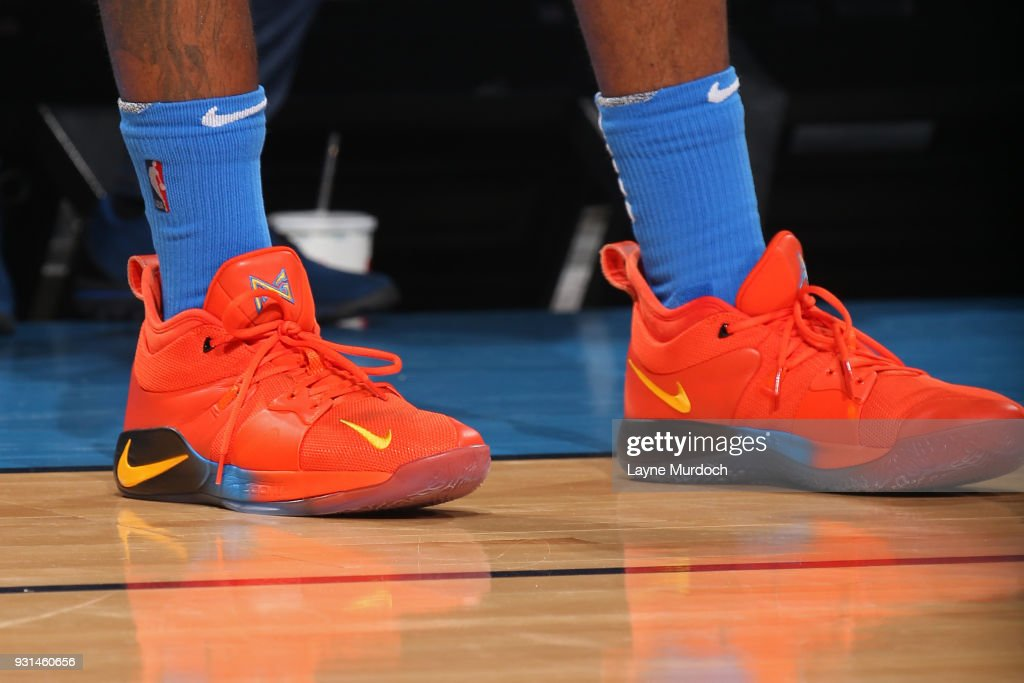 The sneakers of Paul George #13 of the Oklahoma City Thunder during the game against the San Antonio Spurs on March 10, 2018 at Chesapeake Energy Arena in Oklahoma City, Oklahoma.