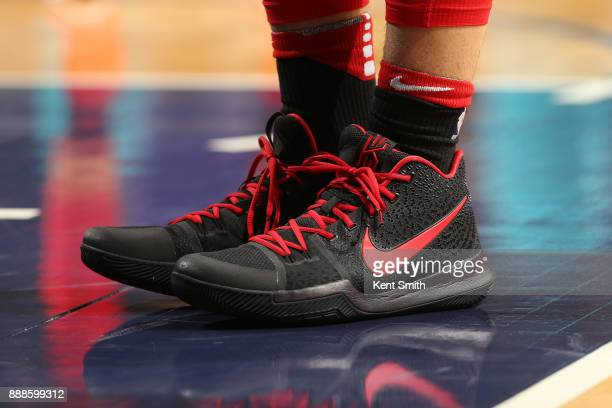 The sneakers of Paul Zipser of the Chicago Bulls are seen during the game against the Charlotte Hornets on December 8 2017 at Spectrum Center in...