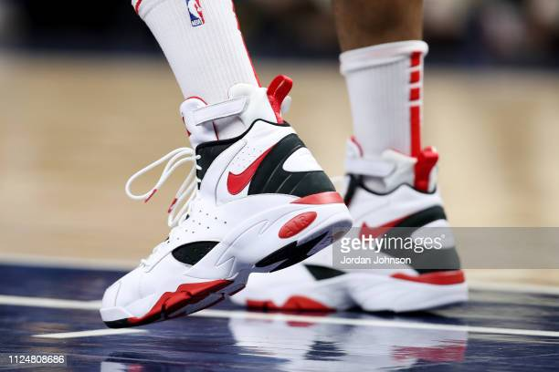 The sneakers of PJ Tucker of the Houston Rockets are seen against the Minnesota Timberwolves on February 13 2019 at Target Center in Minneapolis...