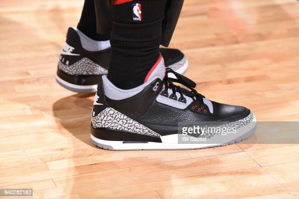 The sneakers of PJ Tucker of the Houston Rockets are seen before the game against the Phoenix Suns on March 30 2018 at the Toyota Center in Houston...