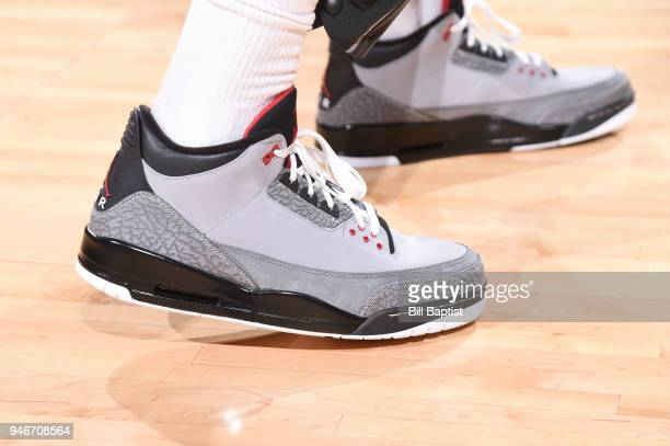 The sneakers of PJ Tucker of the Houston Rockets are seen before the game against the Minnesota Timberwolves in Game One of Round One of the 2018 NBA...