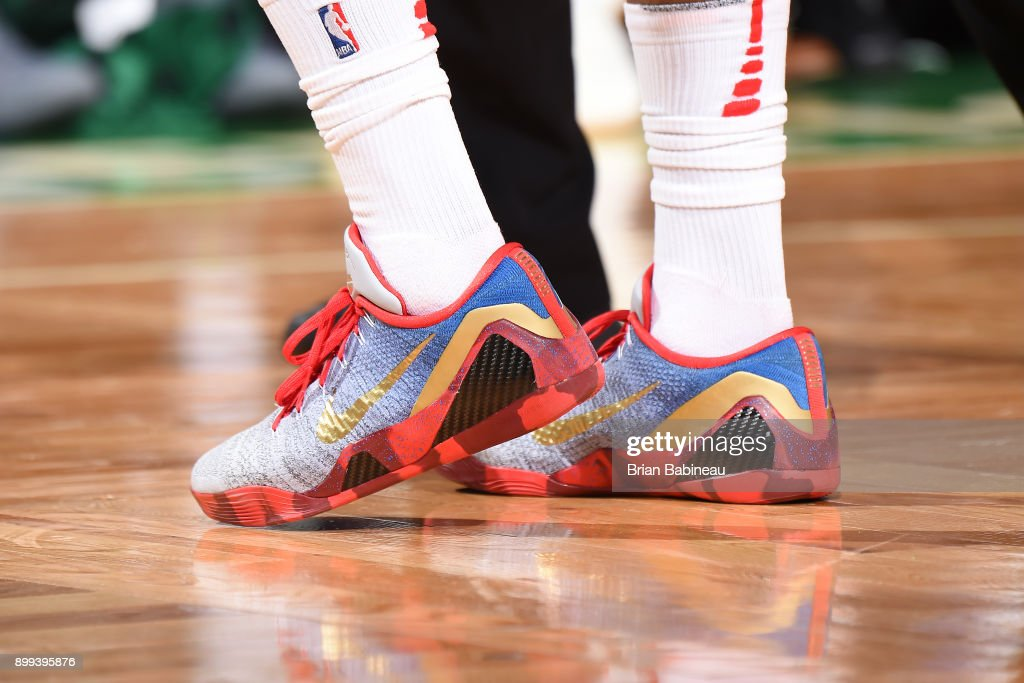 The sneakers of PJ Tucker #4 of the Houston Rockets are seen during the game against the Boston Celtics on December 28, 2017 at the TD Garden in Boston, Massachusetts.