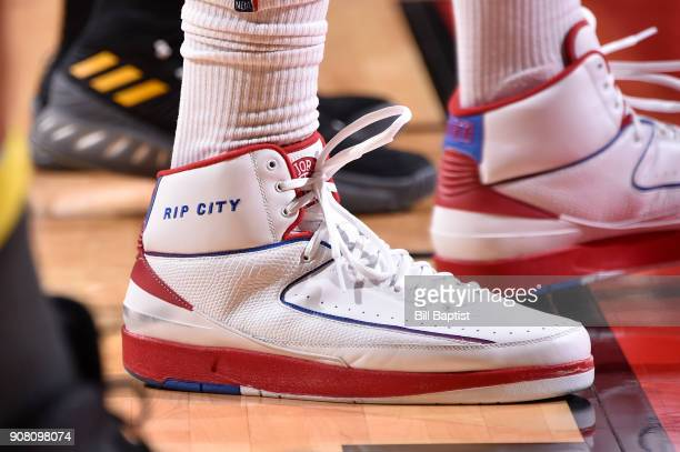 The sneakers of PJ Tucker of the Houston Rockets are seen during the game against the Golden State Warriors on January 20 2018 at the Toyota Center...