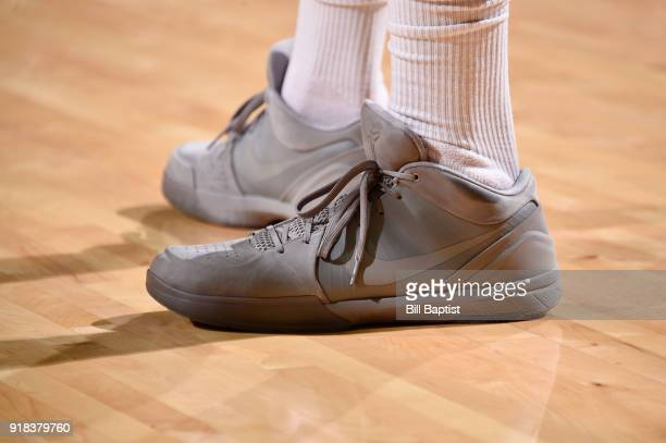 The sneakers of PJ Tucker of the Houston Rockets are seen during the game against the Sacramento Kings on February 14 2018 at the Toyota Center in...