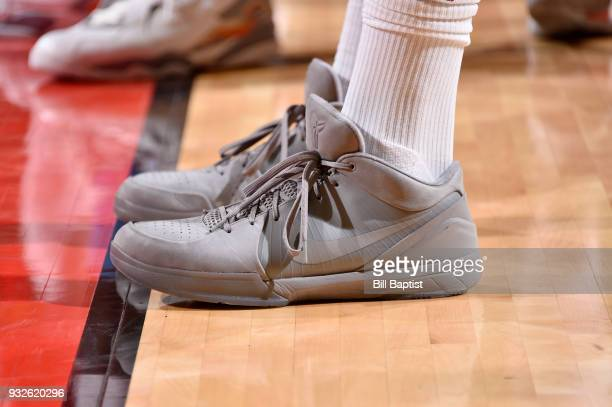 The sneakers of PJ Tucker of the Houston Rockets are seen during the game against the LA Clippers on March 15 2018 at the Toyota Center in Houston...
