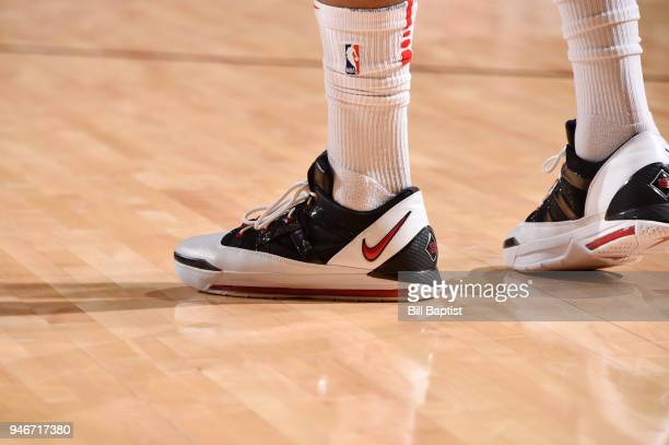 The sneakers of PJ Tucker of the Houston Rockets are seen during the game against the Minnesota Timberwolves in Game One of Round One of the 2018 NBA...