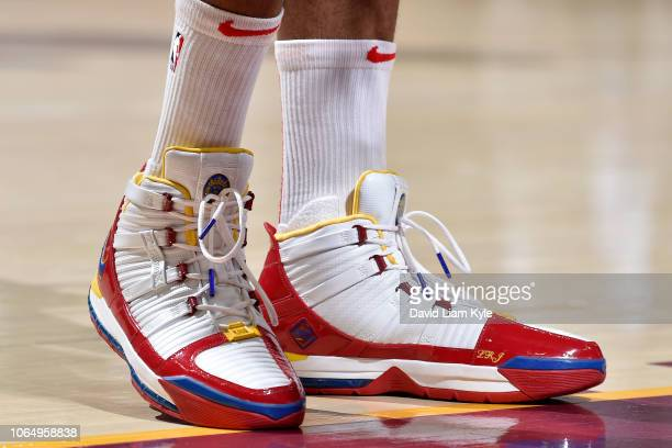 The sneakers of PJ Tucker of the Houston Rockets are worn during a game against the Cleveland Cavaliers on November 24 2018 at Quicken Loans Arena in...