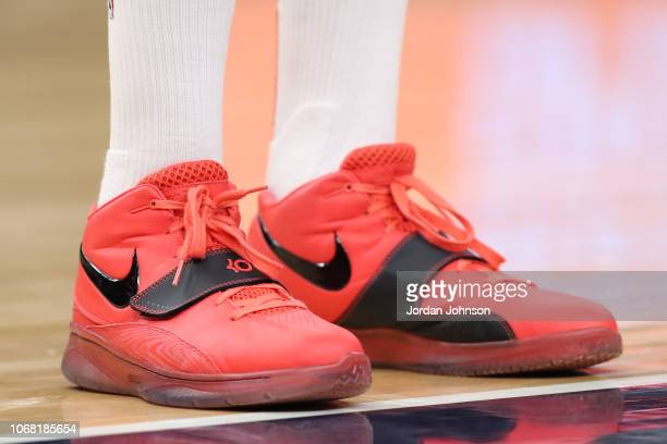 The sneakers of PJ Tucker of the Houston Rockets are worn during a game against the Minnesota Timberwolves on December 3 2017 at Target Center in...