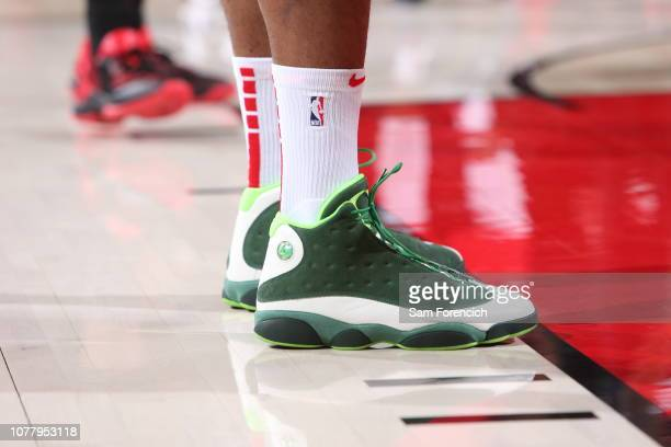 The sneakers of PJ Tucker of the Houston Rockets are worn during a game against the Portland Trail Blazers on January 5 2019 at the Moda Center Arena...