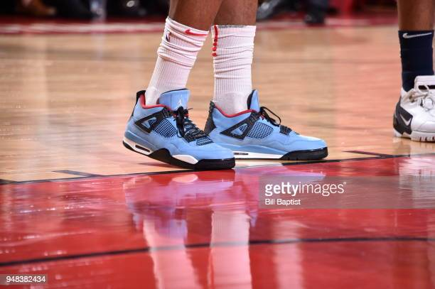 The sneakers of PJ Tucker of the Houston Rockets as seen during the game against the Minnesota Timberwolves during Game Two of Round One of the 2018...