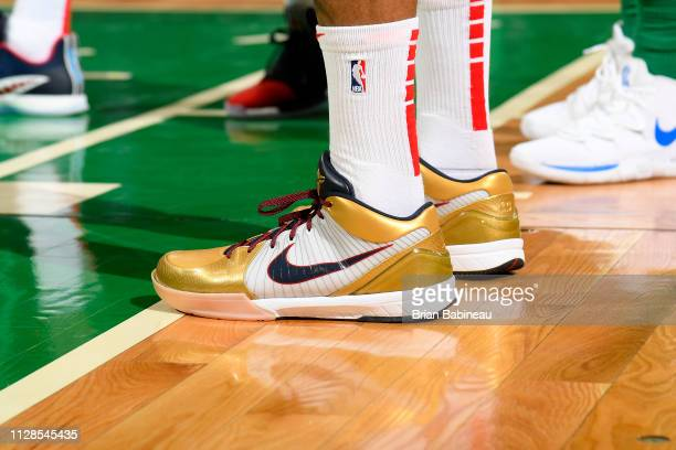 The sneakers of PJ Tucker of the Houston Rockets during the game against the Boston Celtics on March 3 2019 at the TD Garden in Boston Massachusetts...