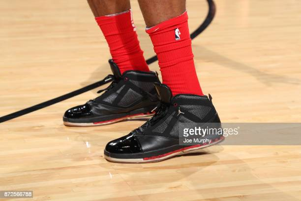 The sneakers of PJ Tucker of the Houston Rockets during the game against the Cleveland Cavaliers on November 9 2017 at Toyota Center in Houston Texas...