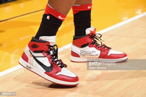 The sneakers of PJ Tucker of the Houston Rockets during the game against the Los Angeles Lakers on December 3 2017 at STAPLES Center in Los Angeles...