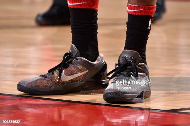 The sneakers of PJ Tucker of the Houston Rockets during the game against the Golden State Warriors on January 4 2018 at the Toyota Center in Houston...