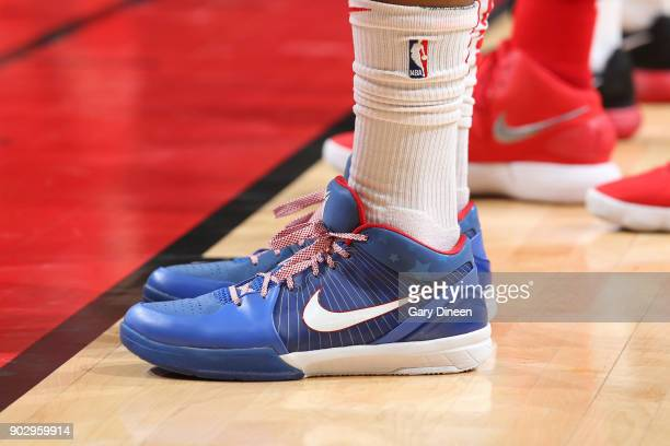The sneakers of PJ Tucker of the Houston Rockets during the game against the Chicago Bulls on January 8 2018 at the United Center in Chicago Illinois...