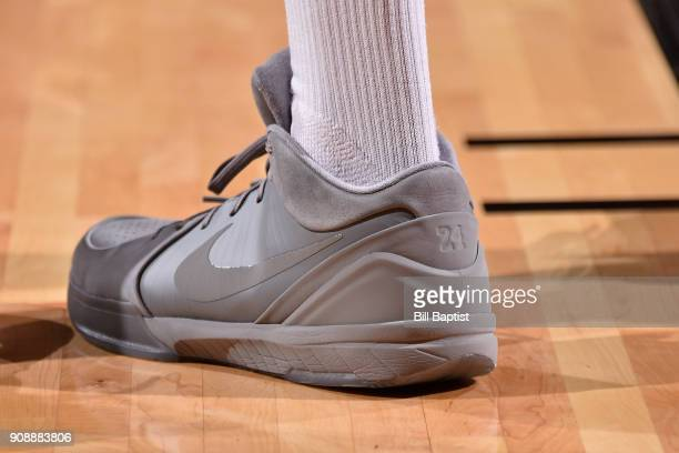 The sneakers of PJ Tucker of the Houston Rockets during the game against the Golden State Warriors on January 20 2018 at the Toyota Center in Houston...