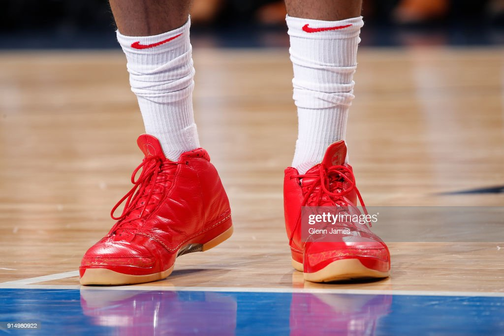 The sneakers of PJ Tucker #4 of the Houston Rockets during the game against the Dallas Mavericks on January 24, 2018 at the American Airlines Center in Dallas, Texas.