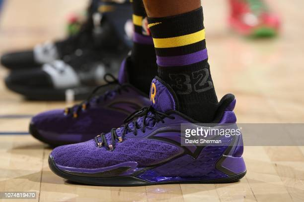 The sneakers of Rajon Rondo of the Los Angeles Lakers are worn during a game against the Golden State Warriors on December 25 2018 at ORACLE Arena in...