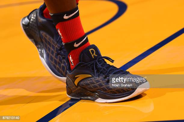 The sneakers of Rajon Rondo of the New Orleans Pelicans are seen during the game against the Golden State Warriors on November 25 2017 at ORACLE...